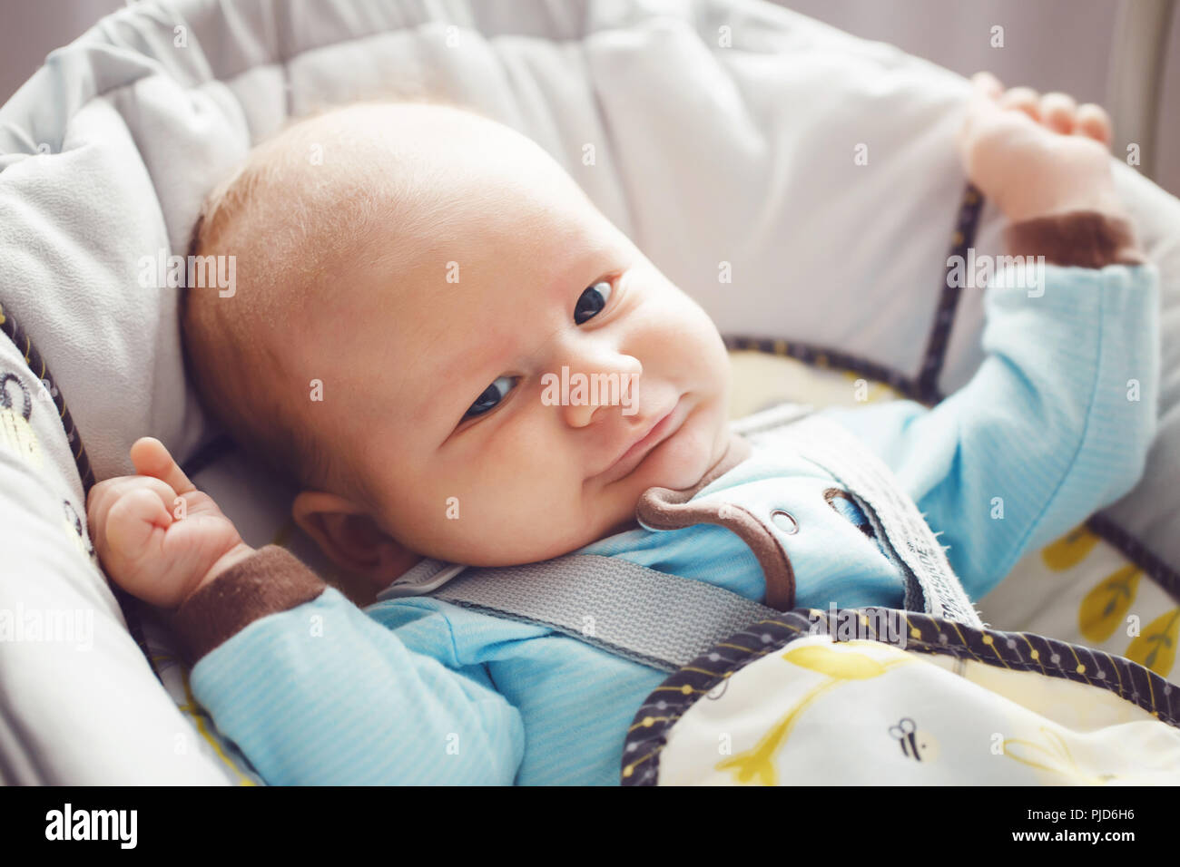 79f95327b9db Portrait of cute adorable funny white Caucasian blond little baby ...