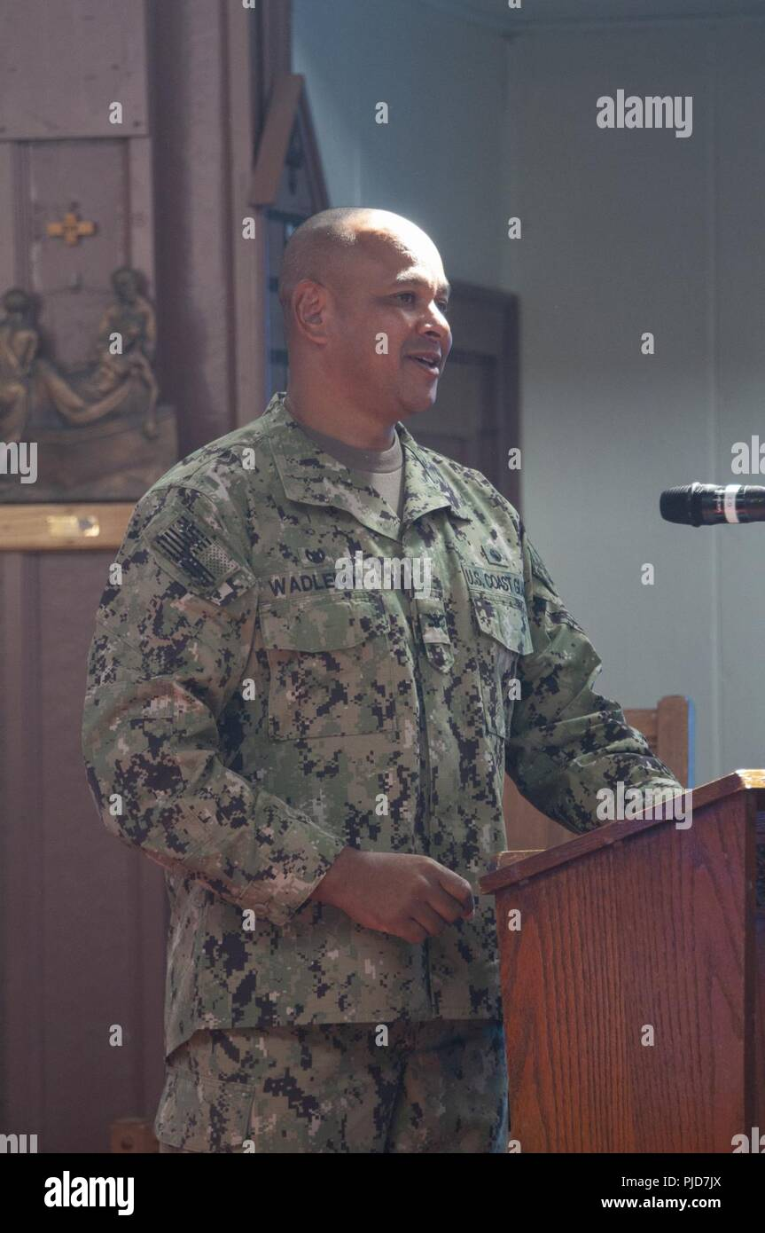 Captain Matthew Wadleigh, Commanding Officer of Port Security Unit 309 speaks to the audience during the Transfer of Authority ceremony held July 24, 2018. Unlike a Change of Command a Transfer of Authority differs as the entire unit is relieved in lieu of only the commanding officer. U.S. Coast Guard Stock Photo
