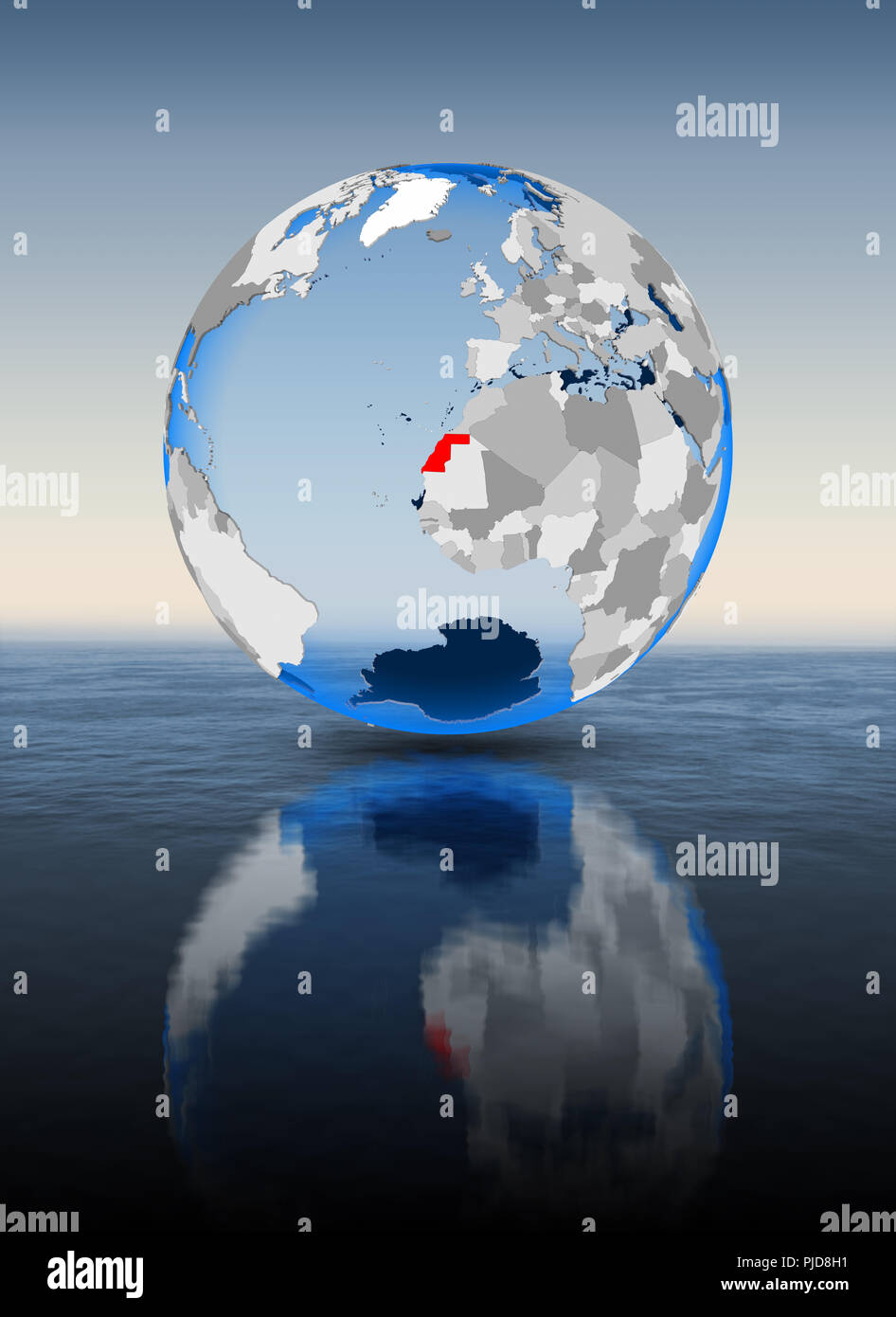 Western Sahara In red on globe floating in water. 3D illustration. Stock Photo