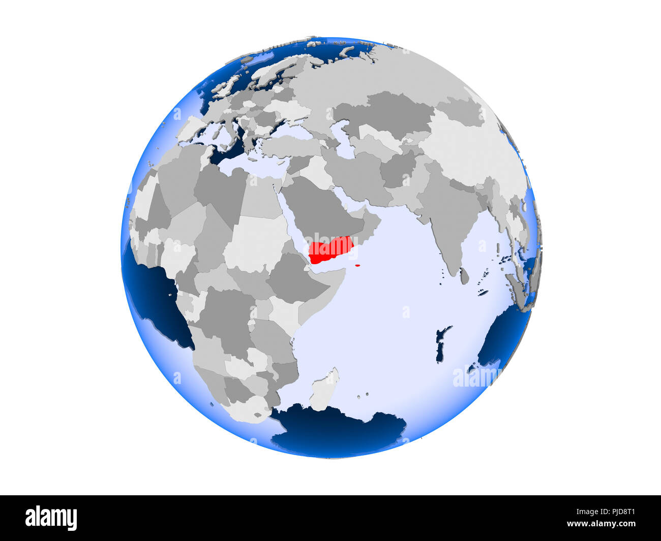 Yemen highlighted in red on political globe with transparent oceans. 3D illustration isolated on white background. - Stock Image