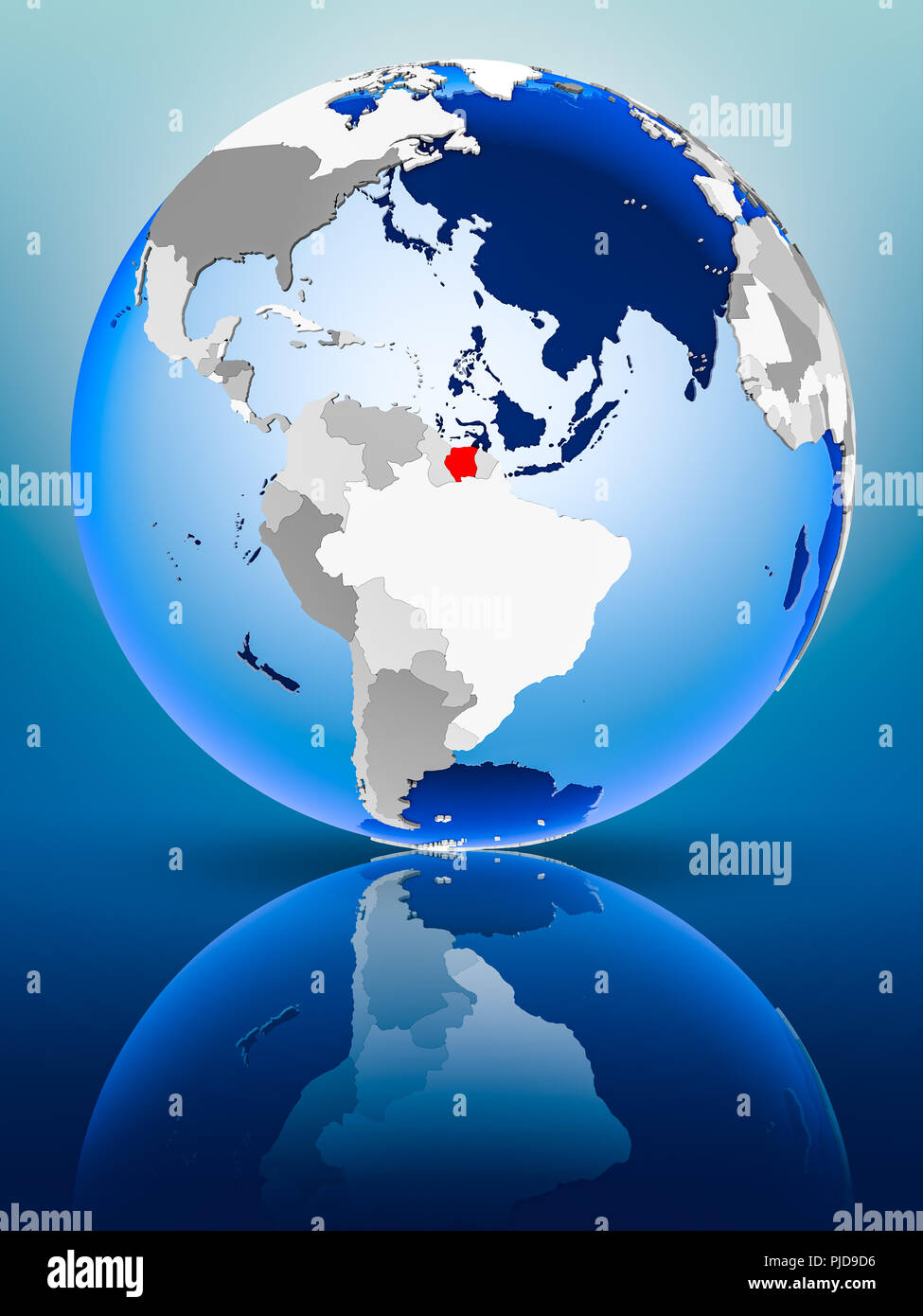 Suriname on political globe standing on reflective surface. 3D illustration. - Stock Image