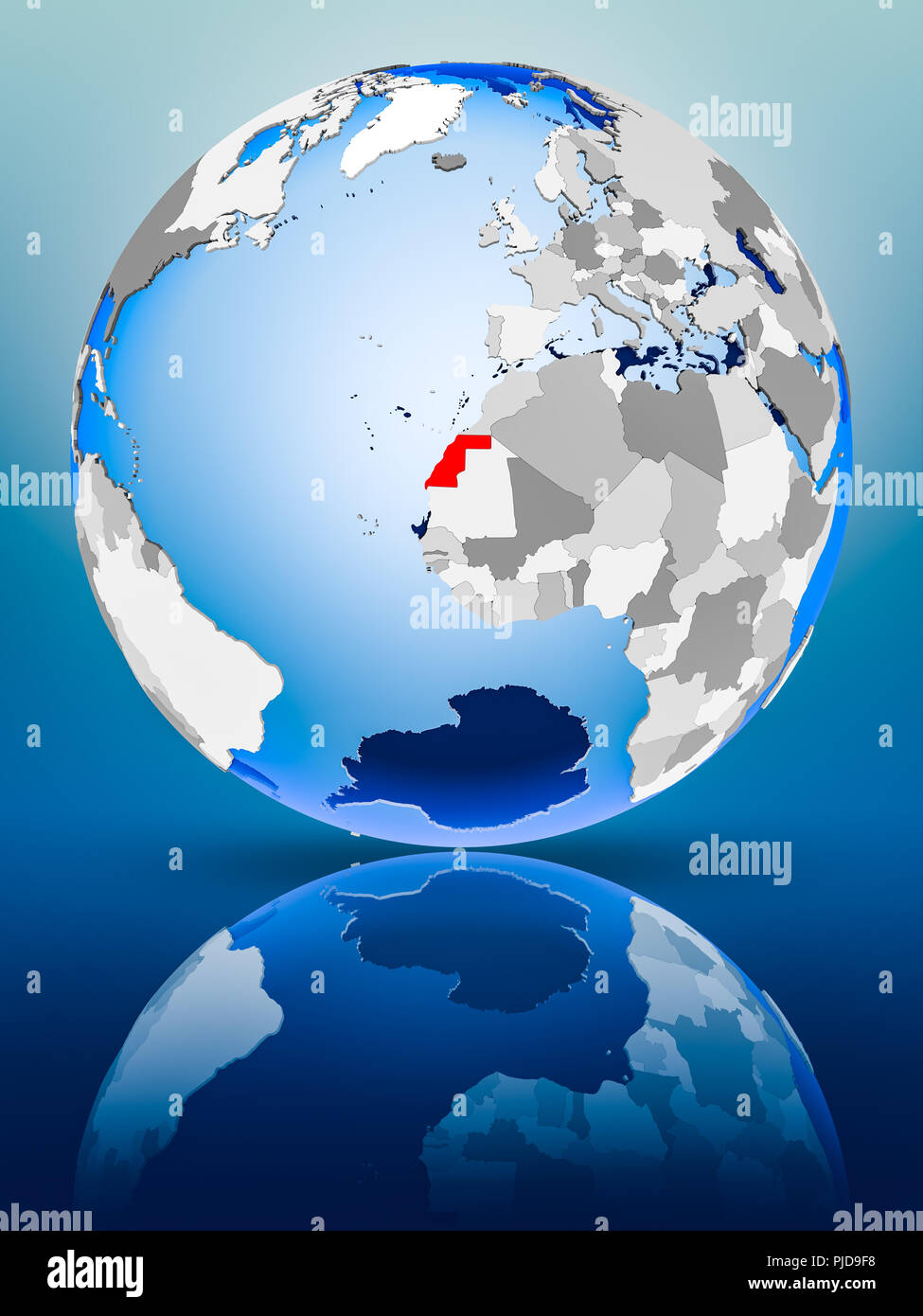 Western Sahara on political globe standing on reflective surface. 3D illustration. - Stock Image