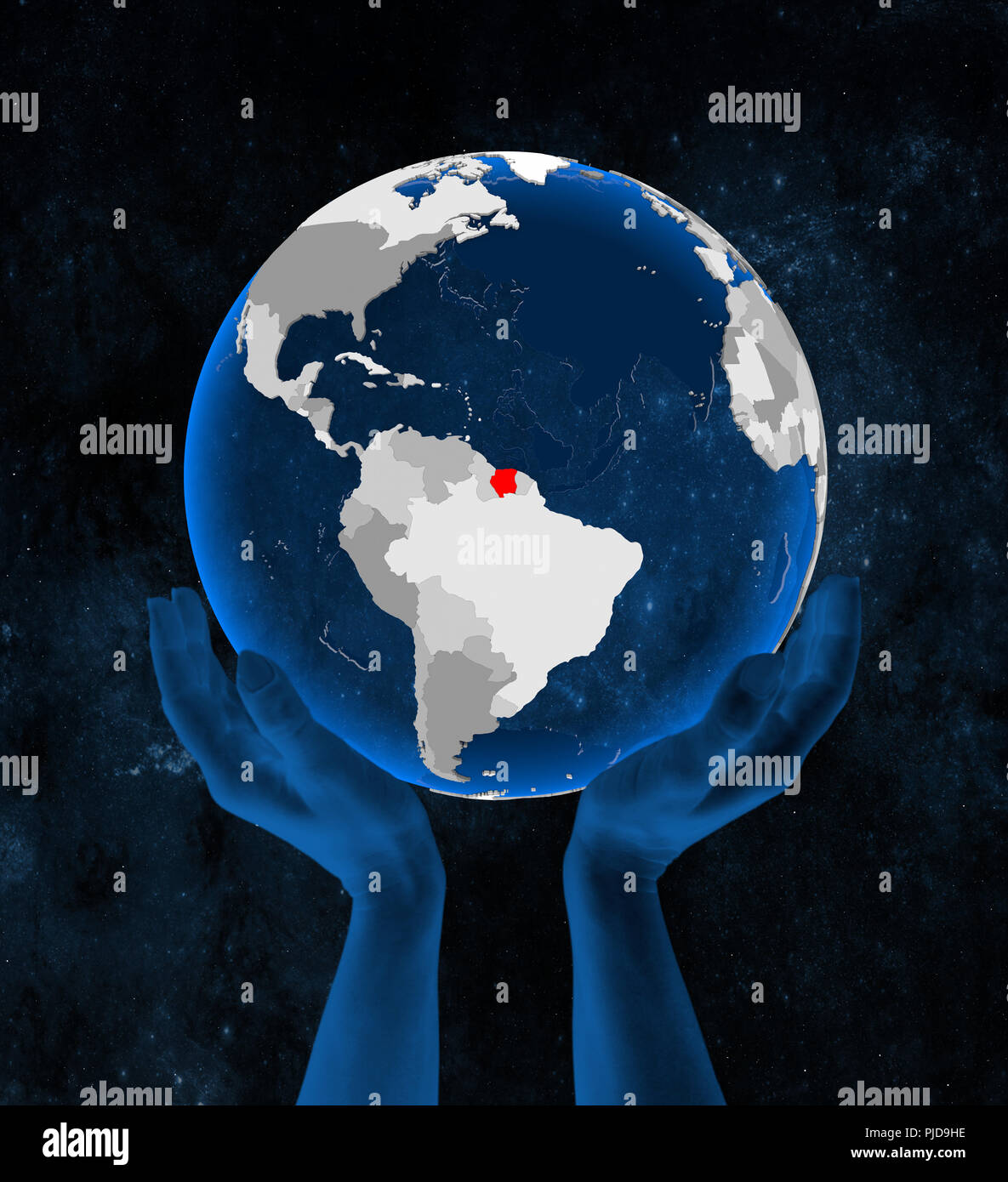 Suriname on translucent blue globe held in hands in space. 3D illustration. - Stock Image
