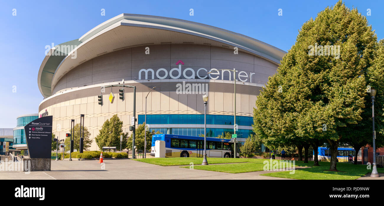 Portland, Oregon - Aug 29, 2018 : Moda Center, Sports arena in Portland city - Stock Image
