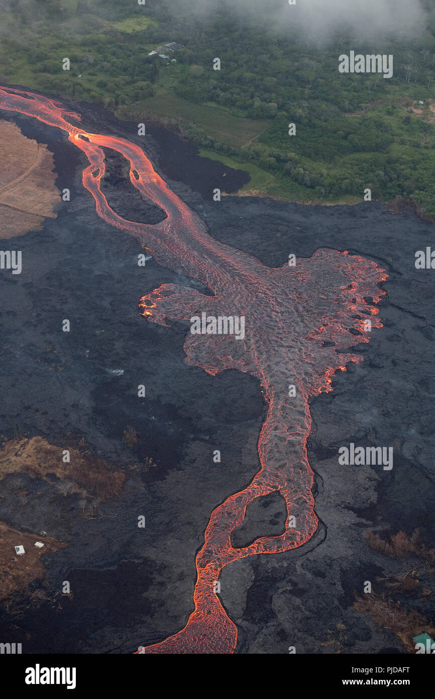 aerial view of river of lava flowing through agricultural lots in Kapoho, lower Puna, Hawaii, from east rift zone of Kilauea Volcano near Pahoa - Stock Image