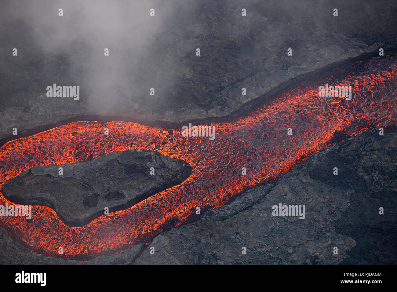 Aerial view of lava river erupted from fissure 8 of Kilauea Volcano east rift zone near Pahoa, Puna, Hawaii Island - Stock Image
