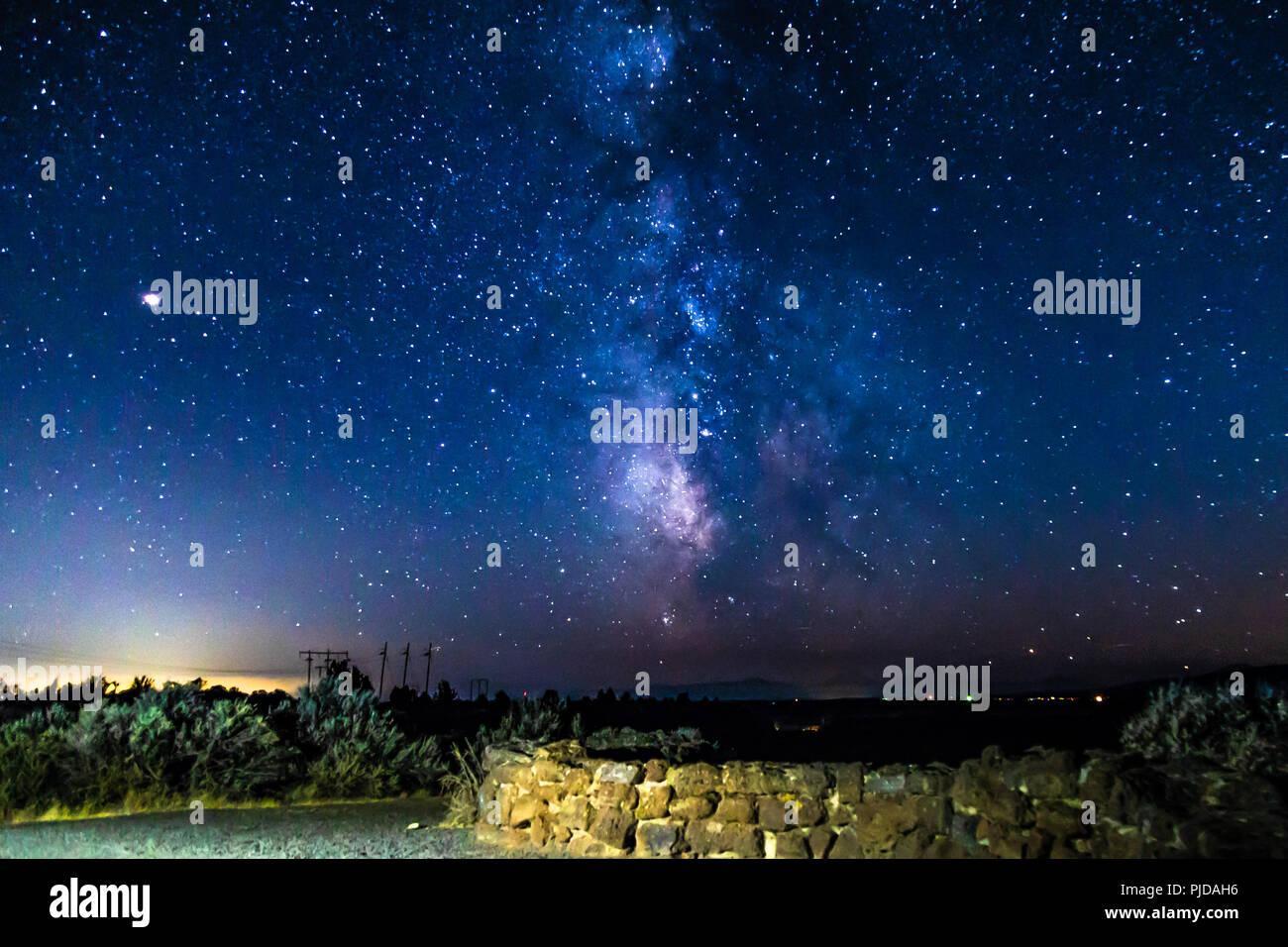Milky Way at Cove Palisades, Oregon Stock Photo