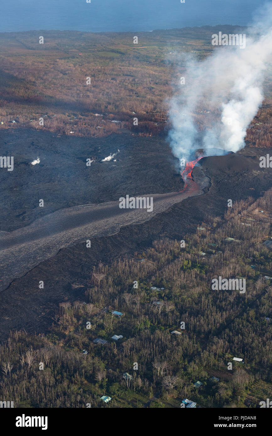 lava erupting from fissure 8 of the Kilauea Volcano east rift zone in Leilani Estates residential subdivision, near Pahoa, pours out of its cinder con - Stock Image