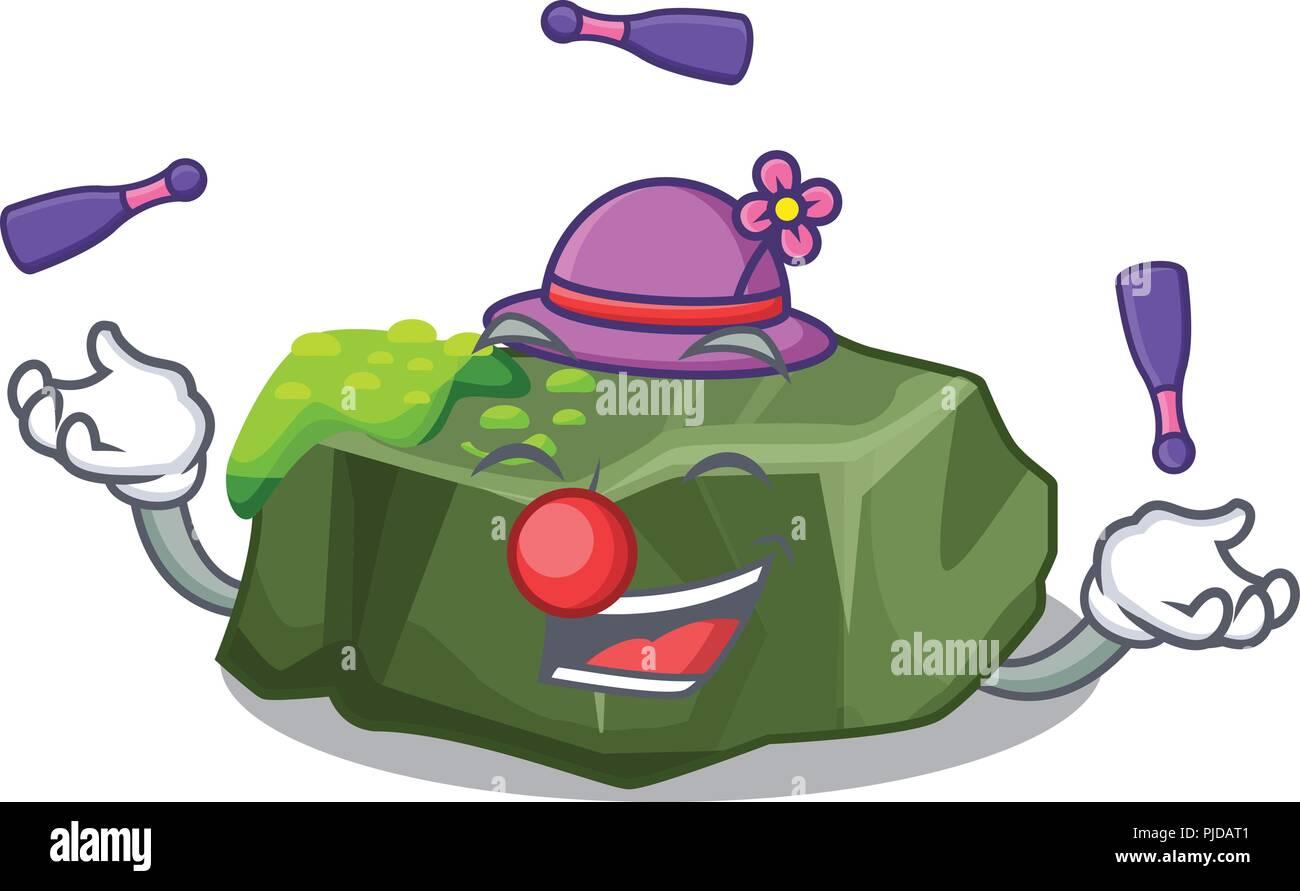 Juggling green rock moss isolated on cartoon - Stock Vector