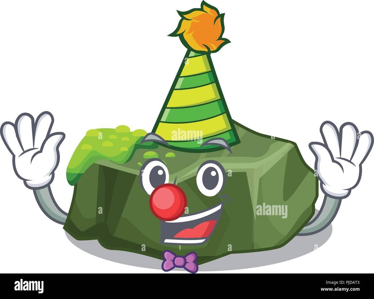 Clown green rock moss isolated on cartoon - Stock Vector