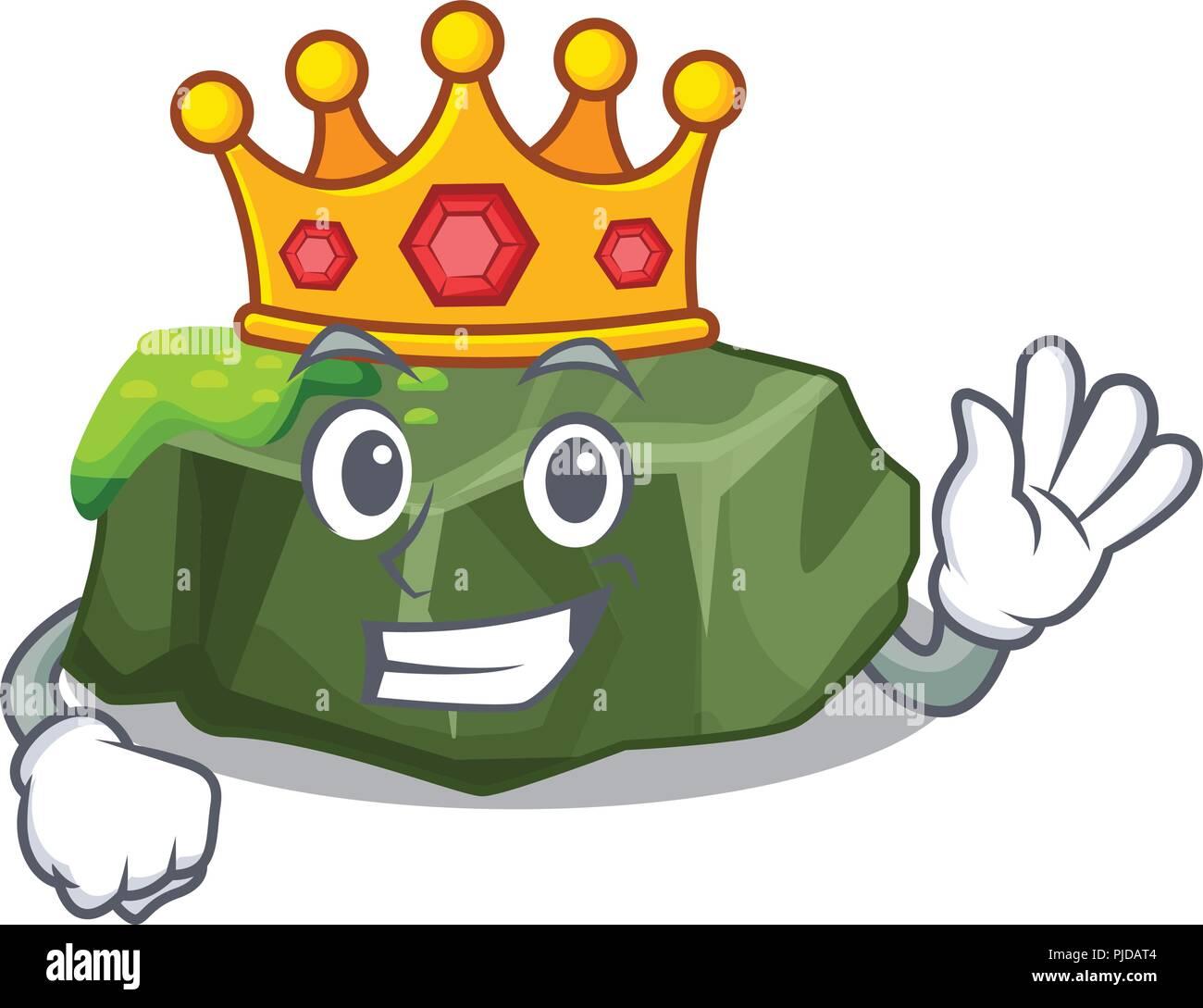 King green rock moss isolated on cartoon - Stock Vector