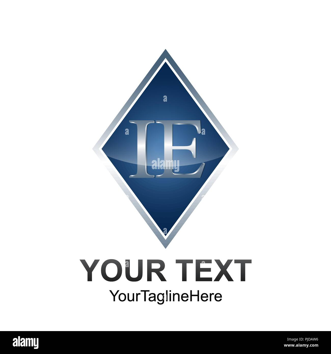 Initial Letter IE Logo Template Colored Grey Blue Diamond