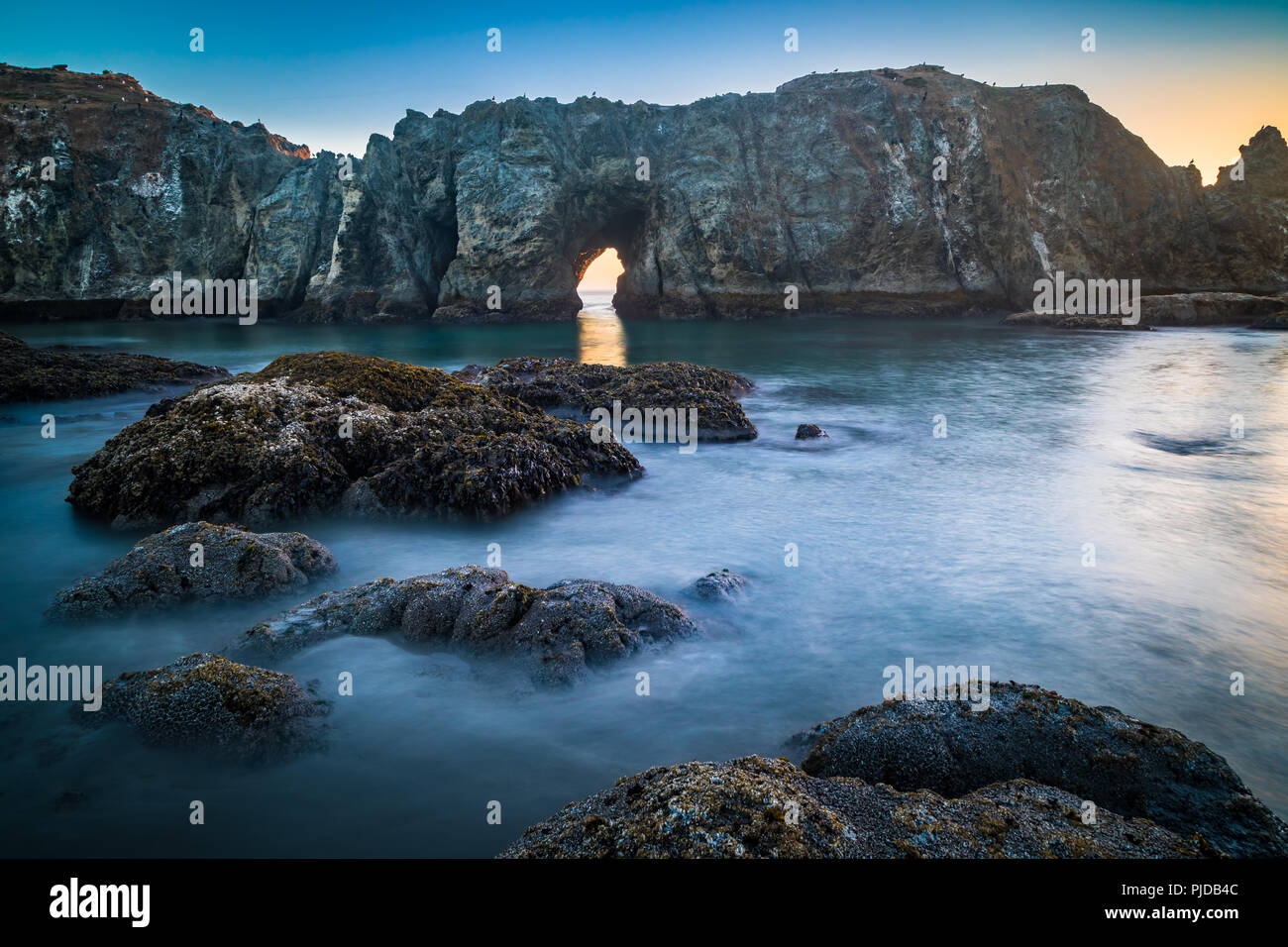 Arches, seastacks, and rocks at Bandon Beach, Oregon - Stock Image