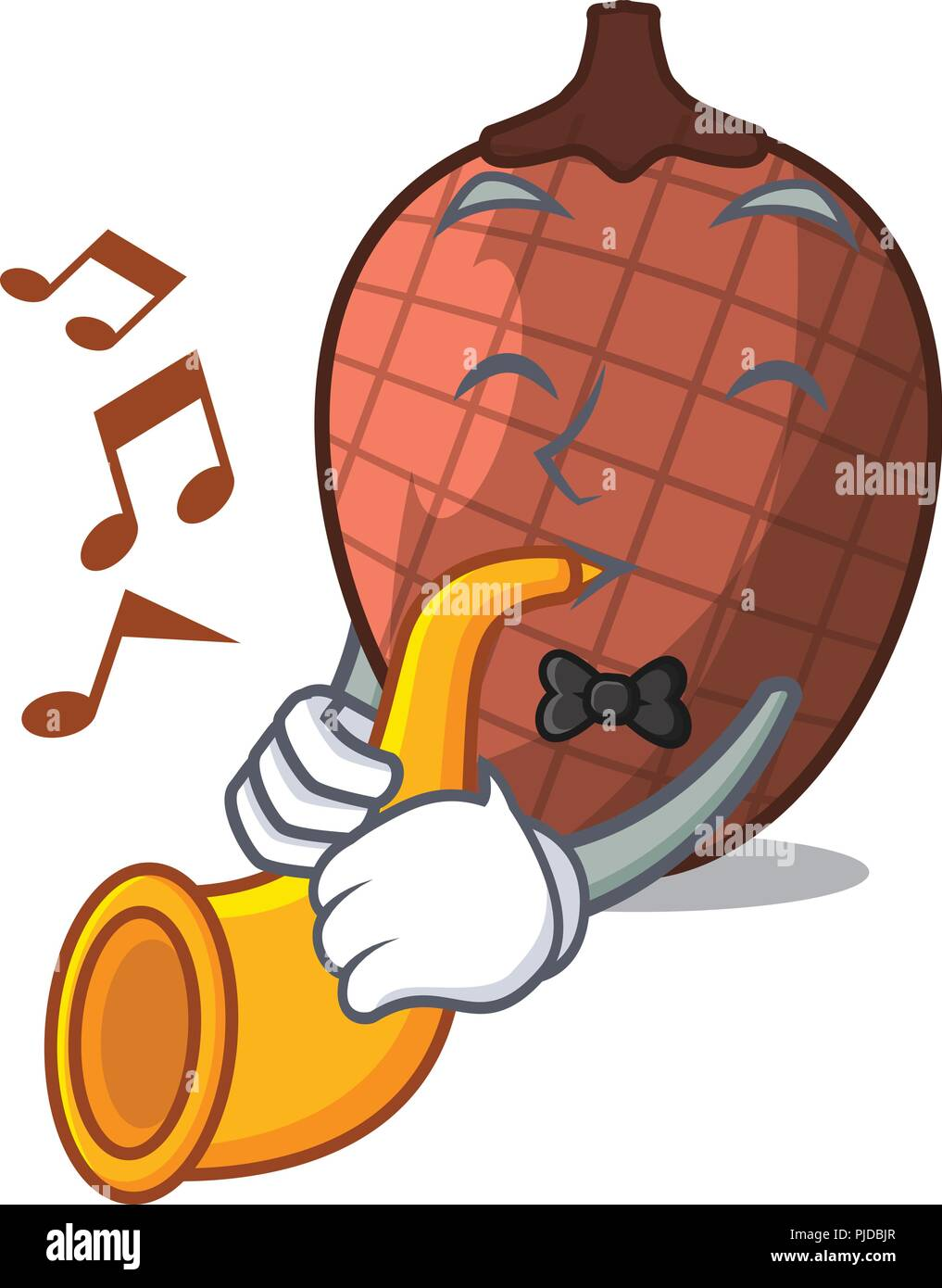 With trumpet mascot cartoon of moriche palm fruits - Stock Image