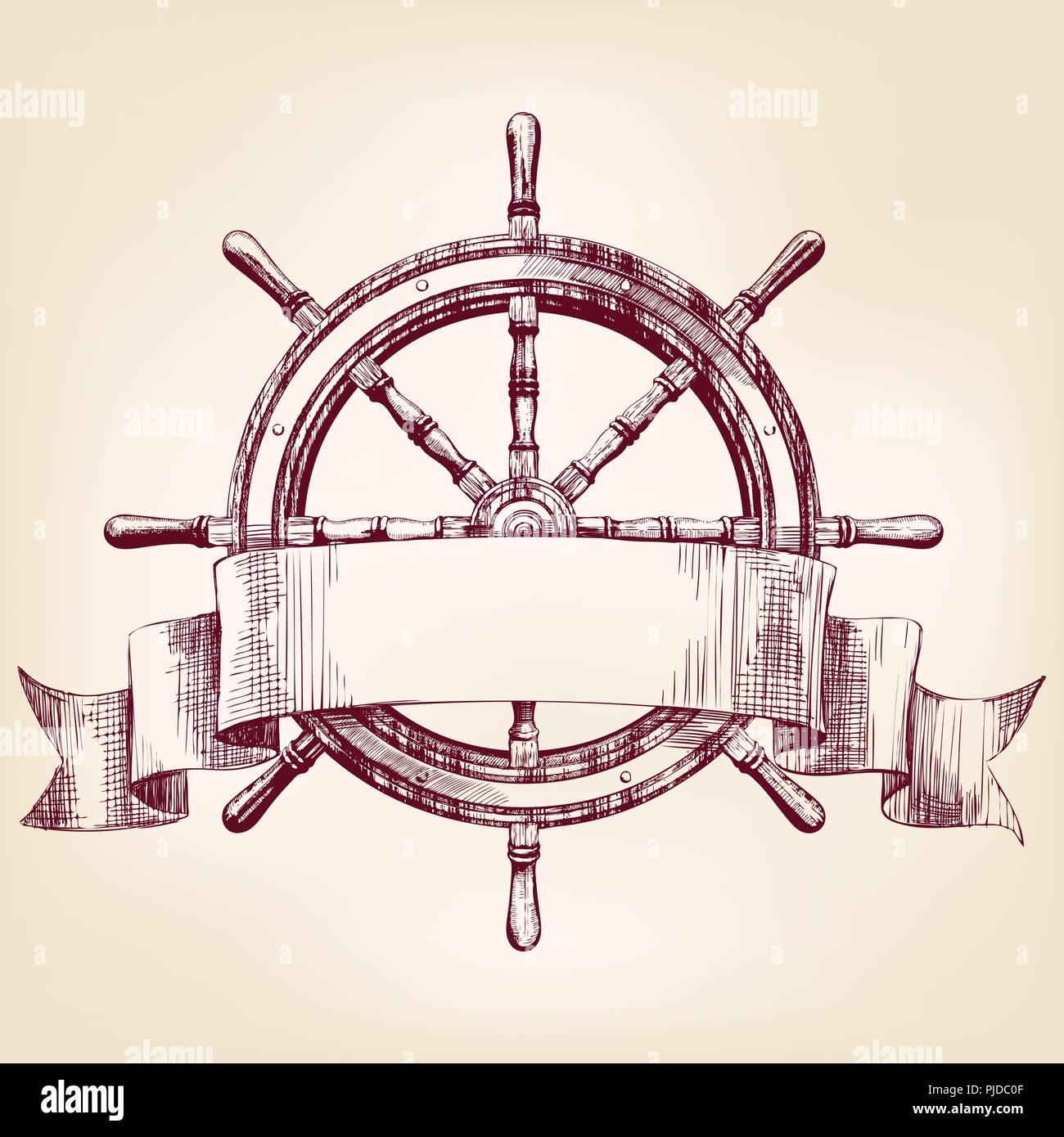 Ship Steering Wheel Drawing Vector Illustration Stock Vector Image Art Alamy