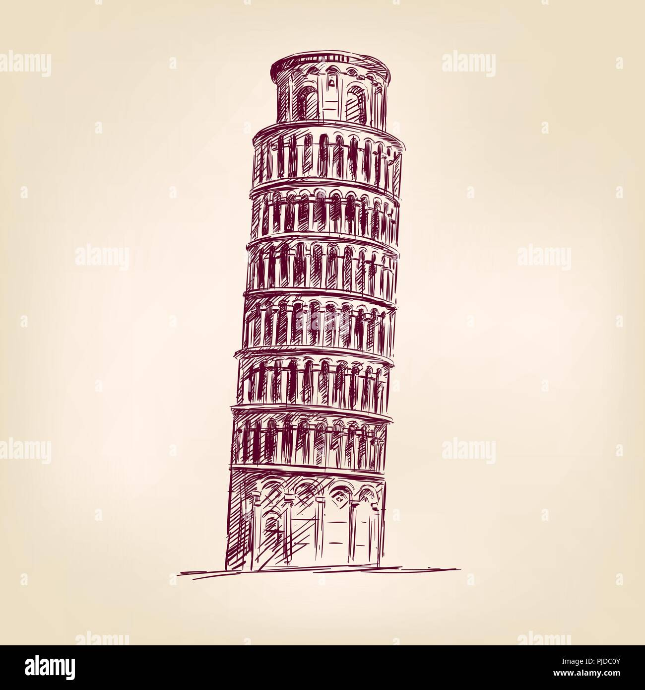 Pisa Tower hand drawn vector illustration realistic sketch - Stock Vector