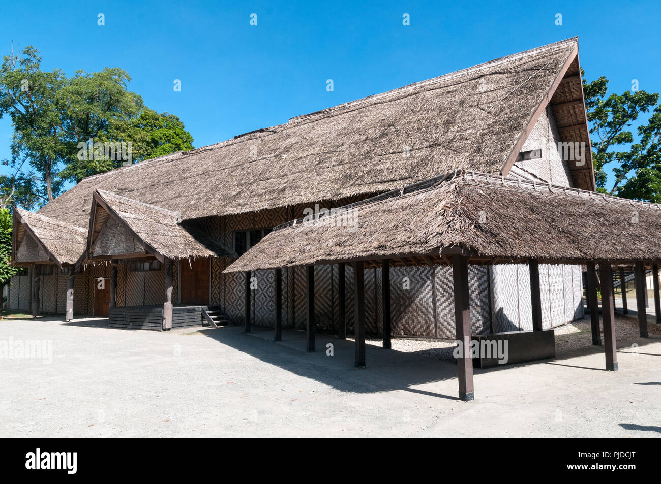 Large traditional building with thatched roof and woven walls, Honiara, Solomon Islands - Stock Image