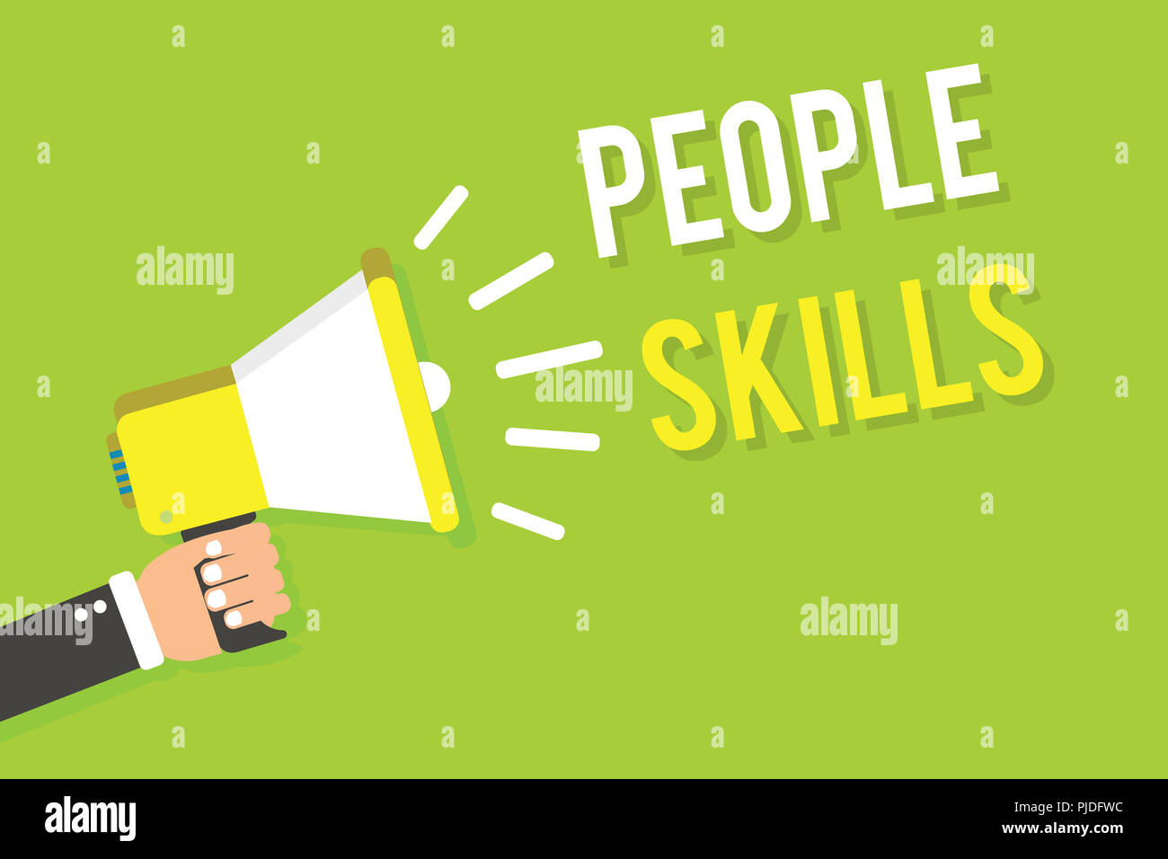 Conceptual hand writing showing People Skills. Business photo text Get Along well Effective Communication Rapport Approachable Man holding megaphone l - Stock Image