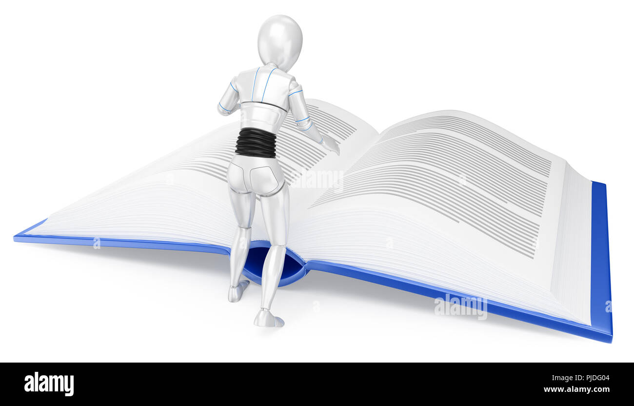 3d futuristic android illustration. Humanoid robot reading a huge book. Isolated white background. - Stock Image