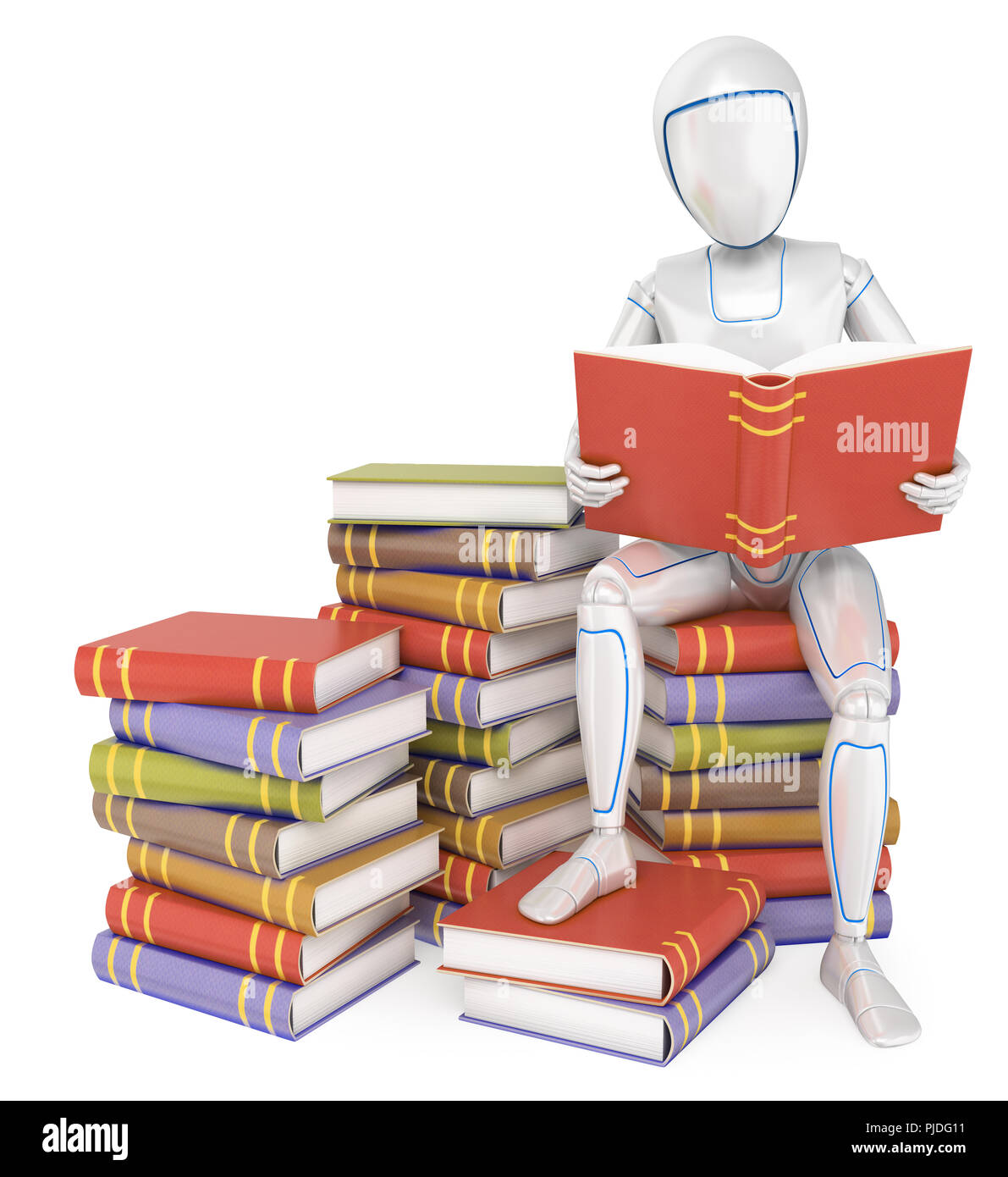 3d futuristic android illustration. Humanoid robot sitting on a pile of book reading. Isolated white background. - Stock Image