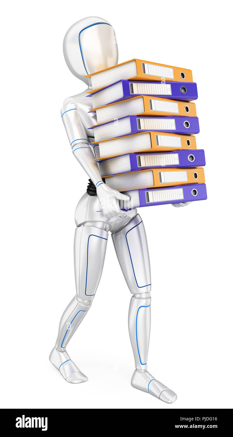 3d futuristic android illustration. Humanoid robot loading with many ring binders. Work overload. Isolated white background. - Stock Image