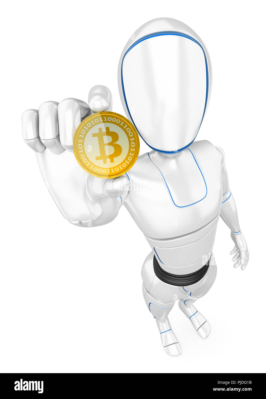 3d futuristic android illustration. Humanoid robot mining a cryptocurrency bitcoin. Isolated white background. - Stock Image