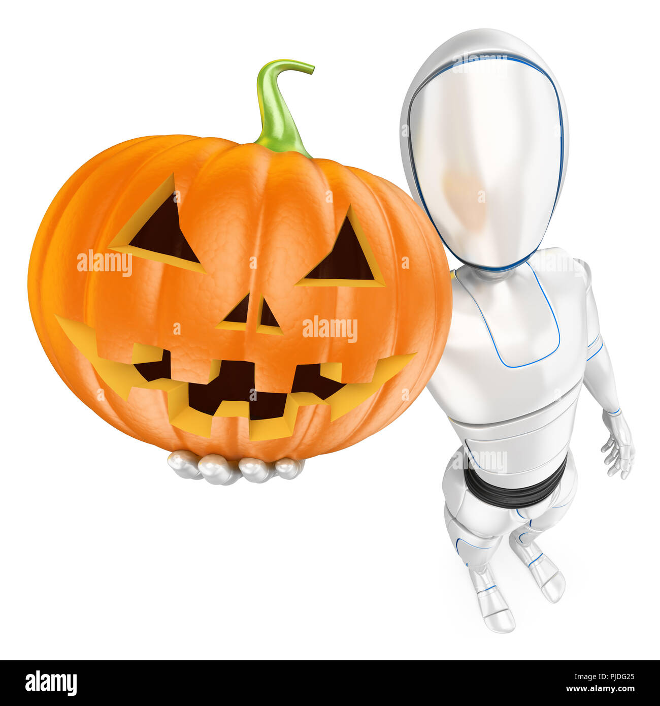 3d futuristic android illustration. Humanoid robot with a big pumpkin. Halloween. Isolated white background. - Stock Image