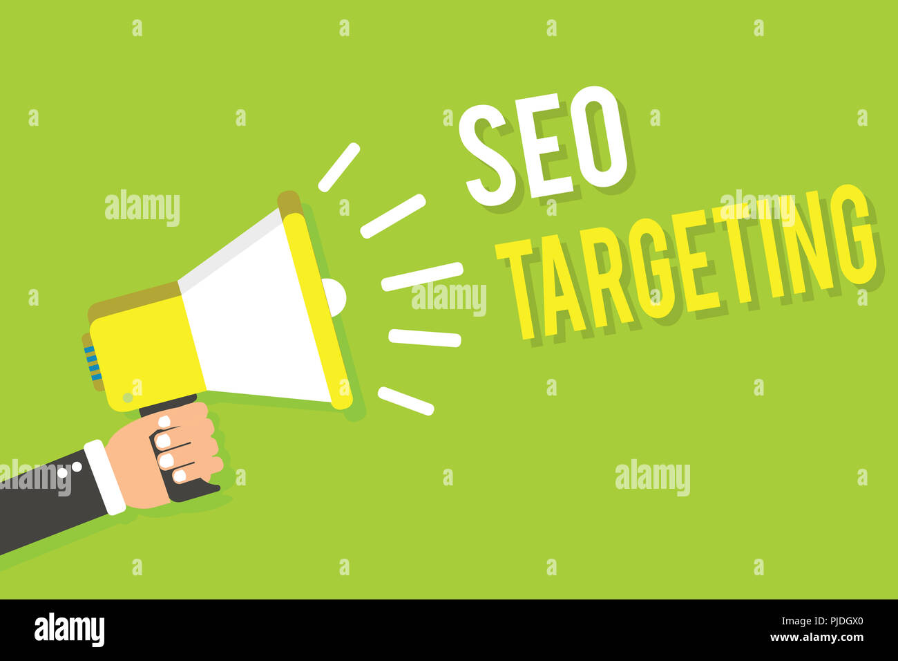 Conceptual hand writing showing Seo Targeting. Business photo text Specific Keywords for Location Landing Page Top Domain Man holding megaphone loudsp - Stock Image