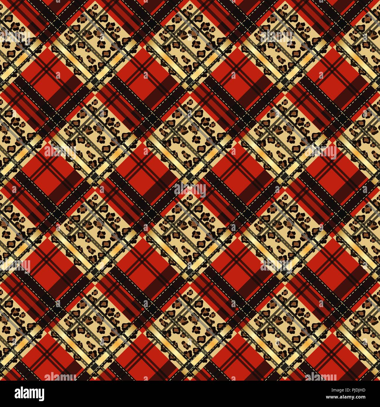 Vector illustration of colorful tartan, plaid fabric