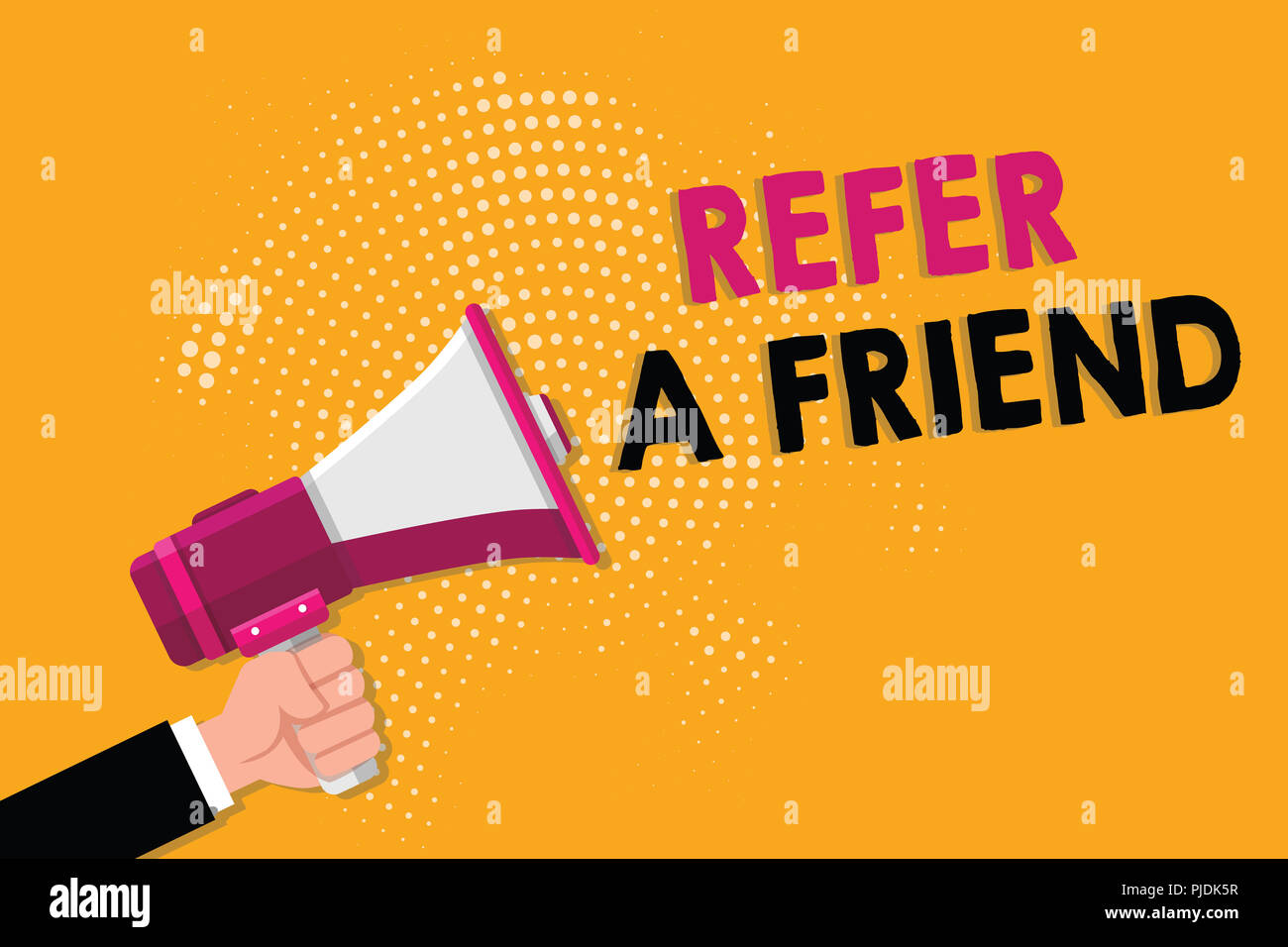 Word writing text Refer A Friend. Business concept for Recommendation Appoint someone qualified for the task. Stock Photo