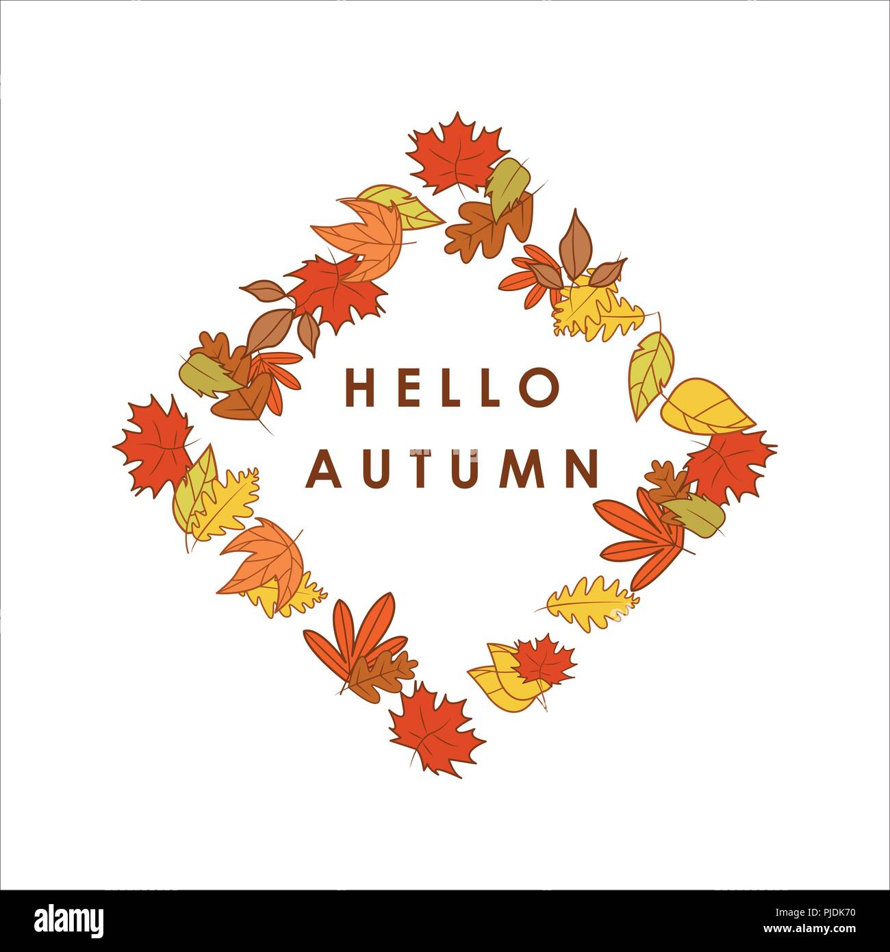 hello autumn greeting diamond shape dry leaves frame illustration