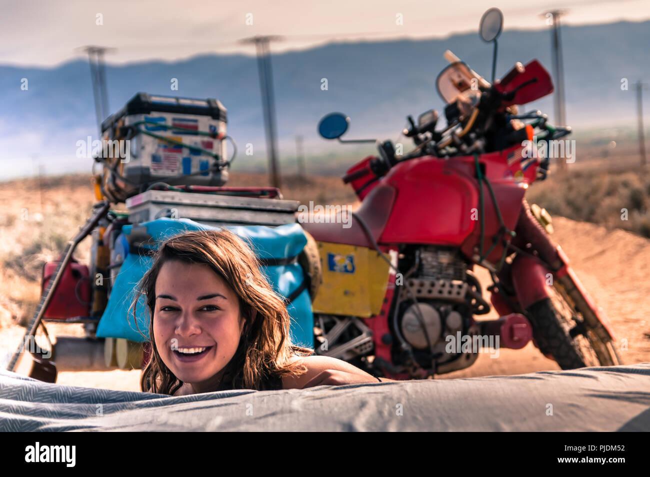 Woman camping, Bishop, California, USA - Stock Image