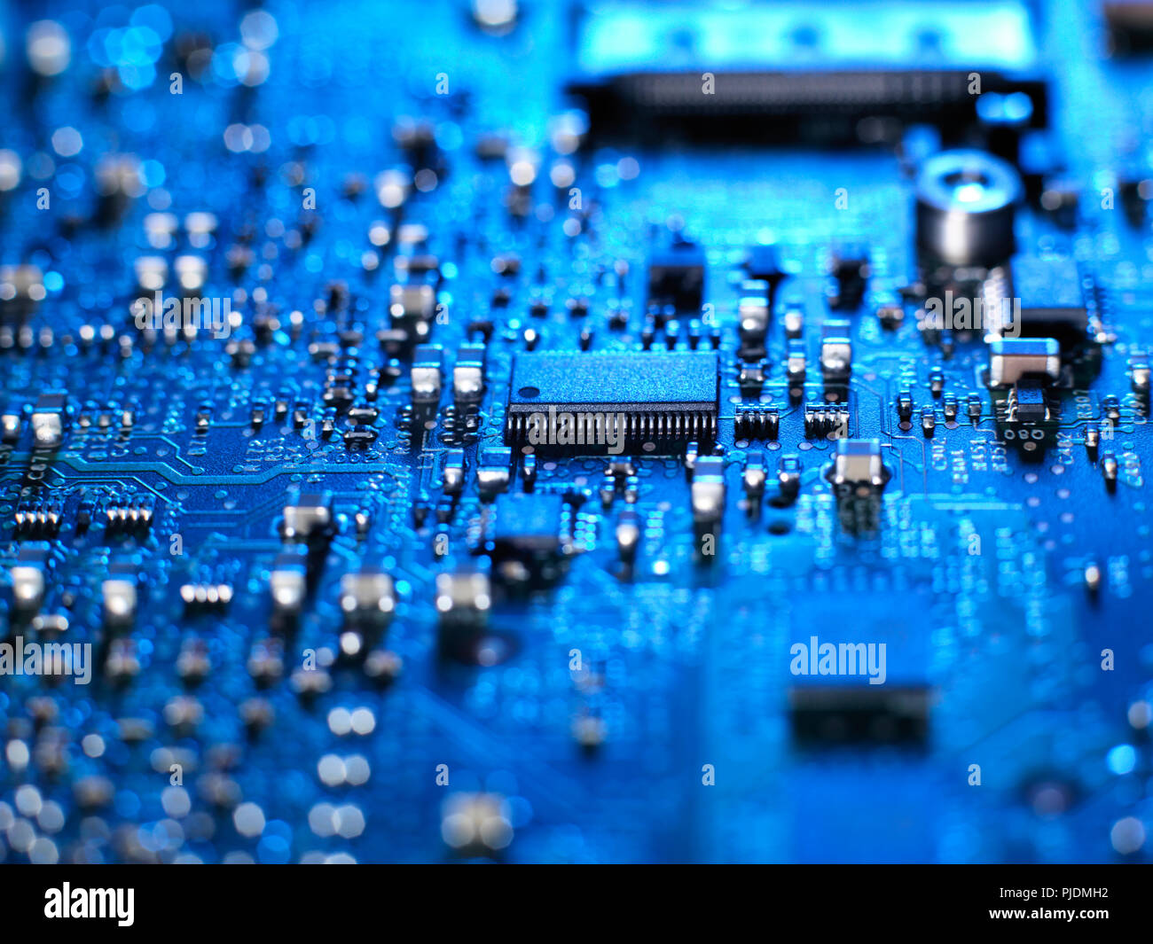 Inside Of A Laptop Computer Showing Chips Circuit Boards And Board With Electronic Components Stock Photo