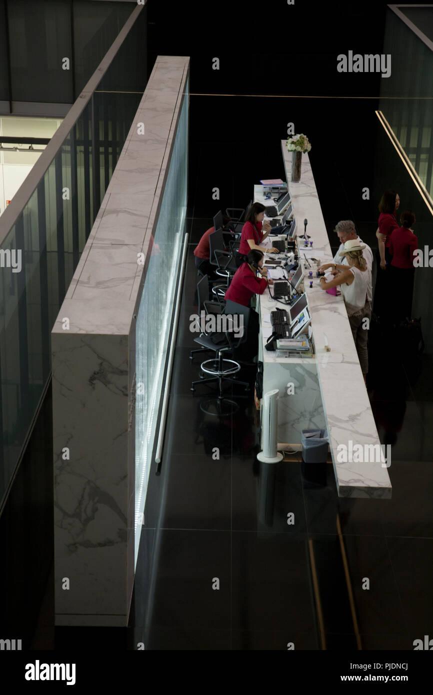 enquiry desk terminal 1 hong kong international airport chek lap kok hong kong china - Stock Image