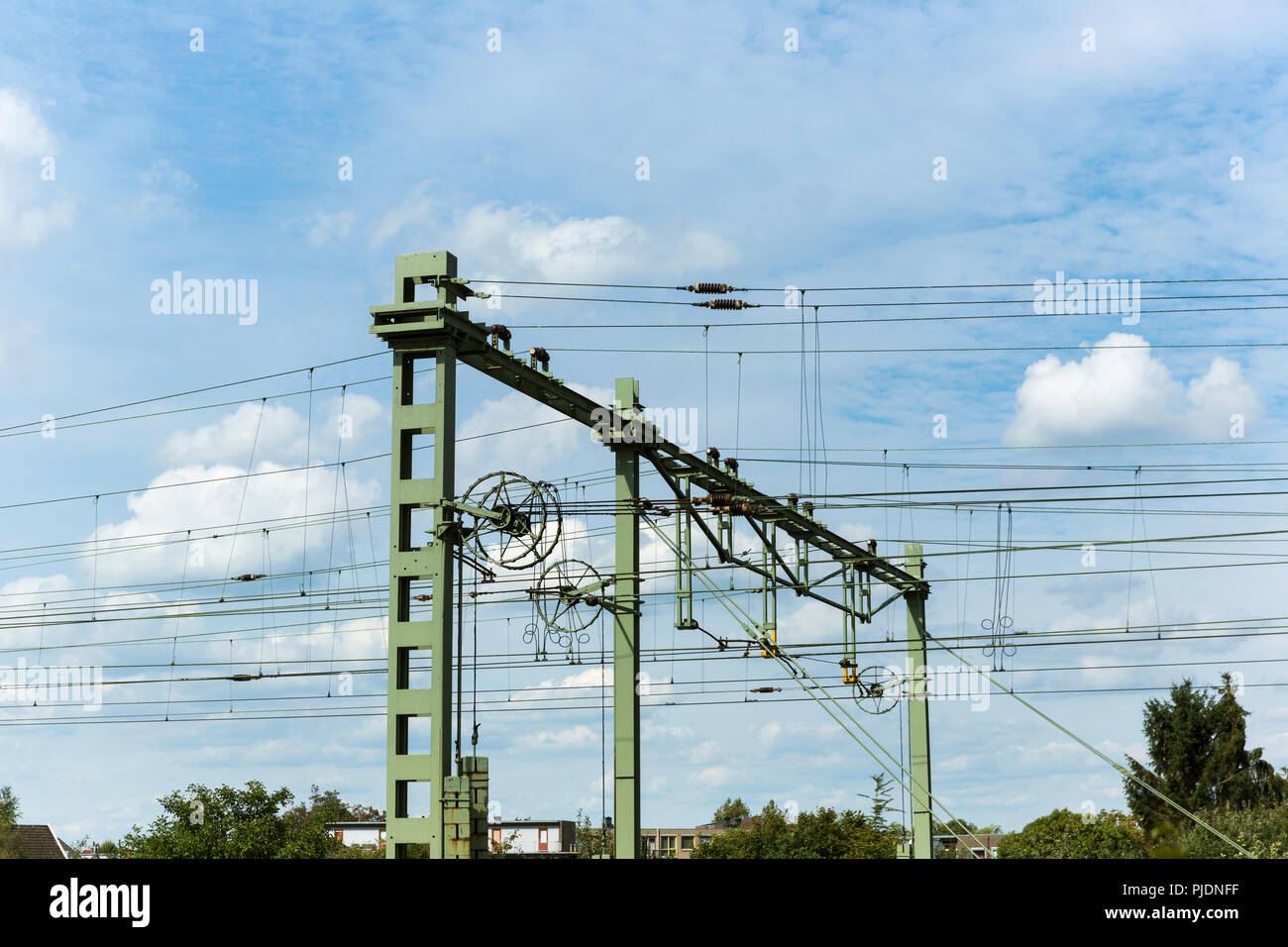Suburban train line equipment that is seemingly out of date yet in good condition. - Stock Image