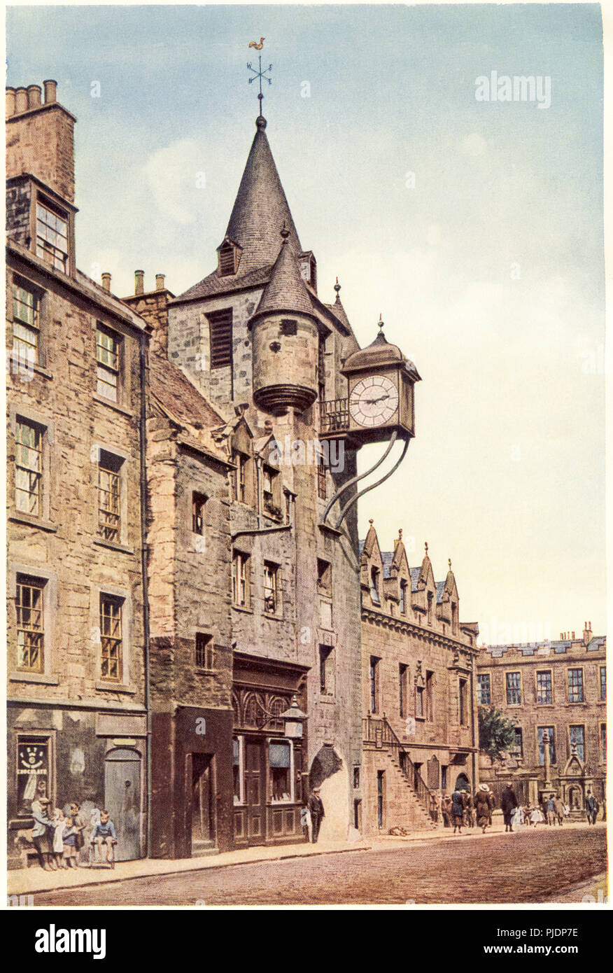 A coloured illustration of The Tolbooth, Canongate, Edinburgh UK scanned at high resolution from a book printed in 1929. Stock Photo