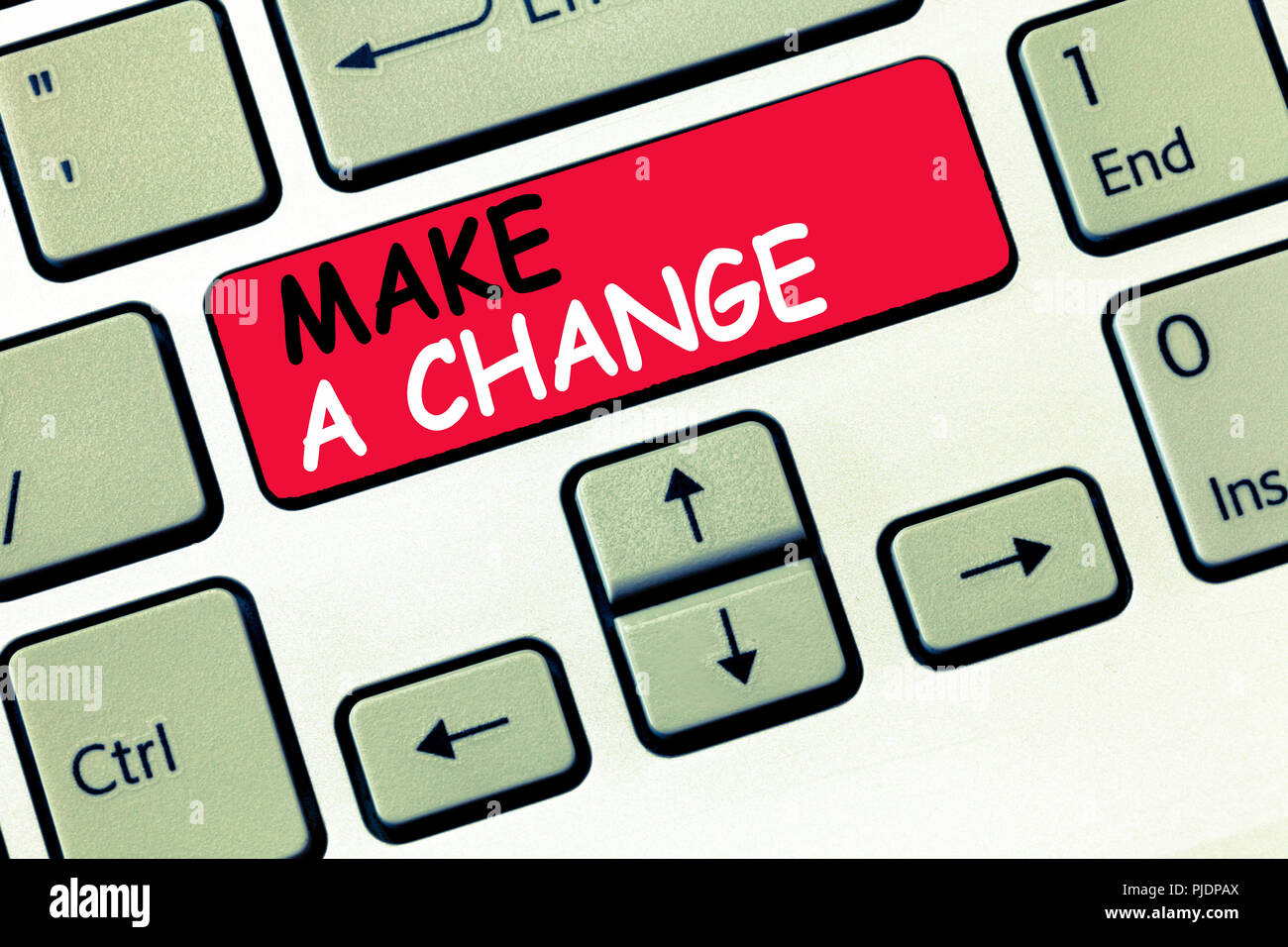 Word writing text Make A Change. Business concept for Create a Difference Alteration Have an Effect Metamorphose. - Stock Image