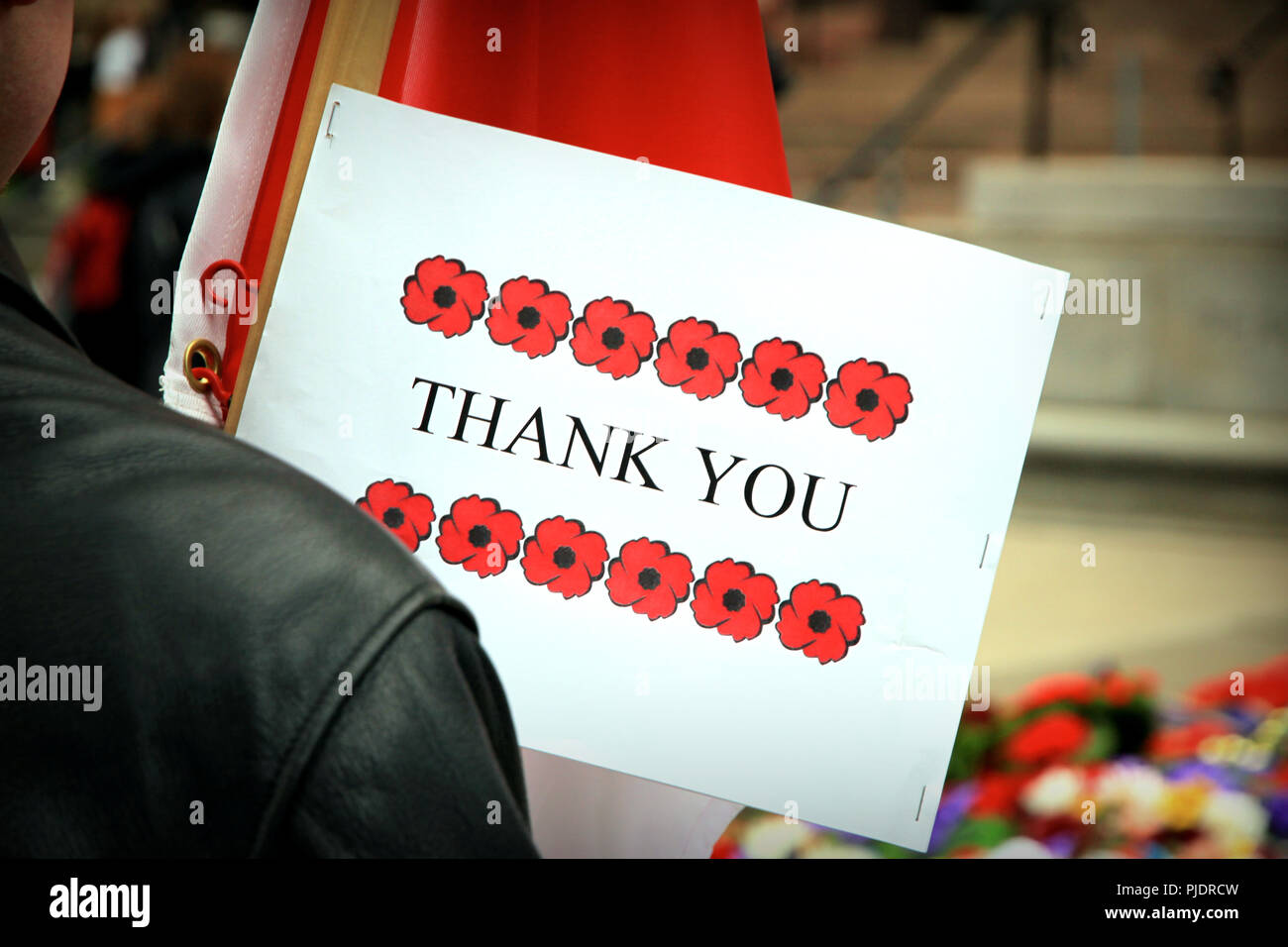 Remembrance Day sign - Stock Image