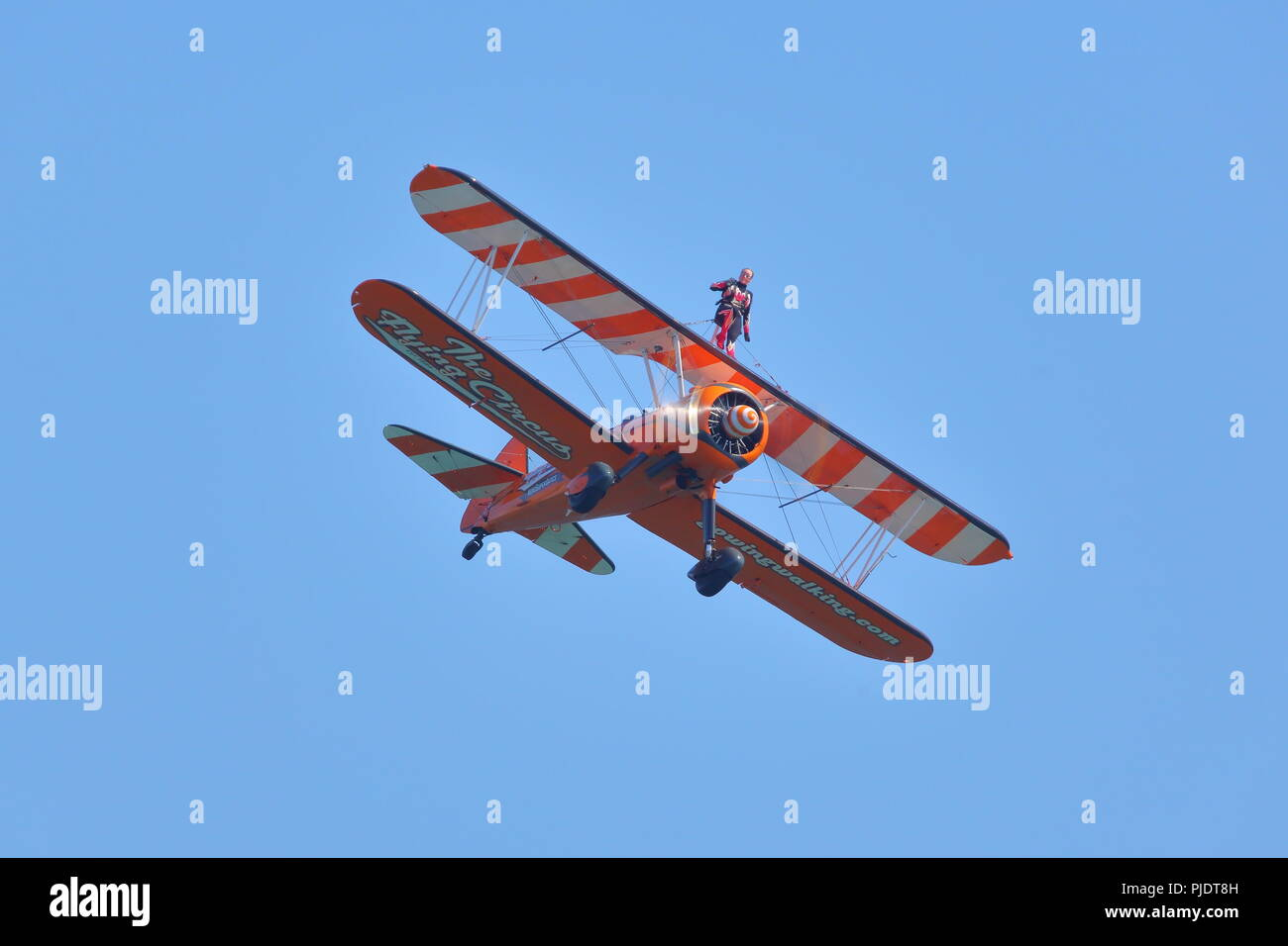 The Flying Circus Wingwalkers at the Bournemouth Air Festival 2018, Bournemouth, UK - Stock Image