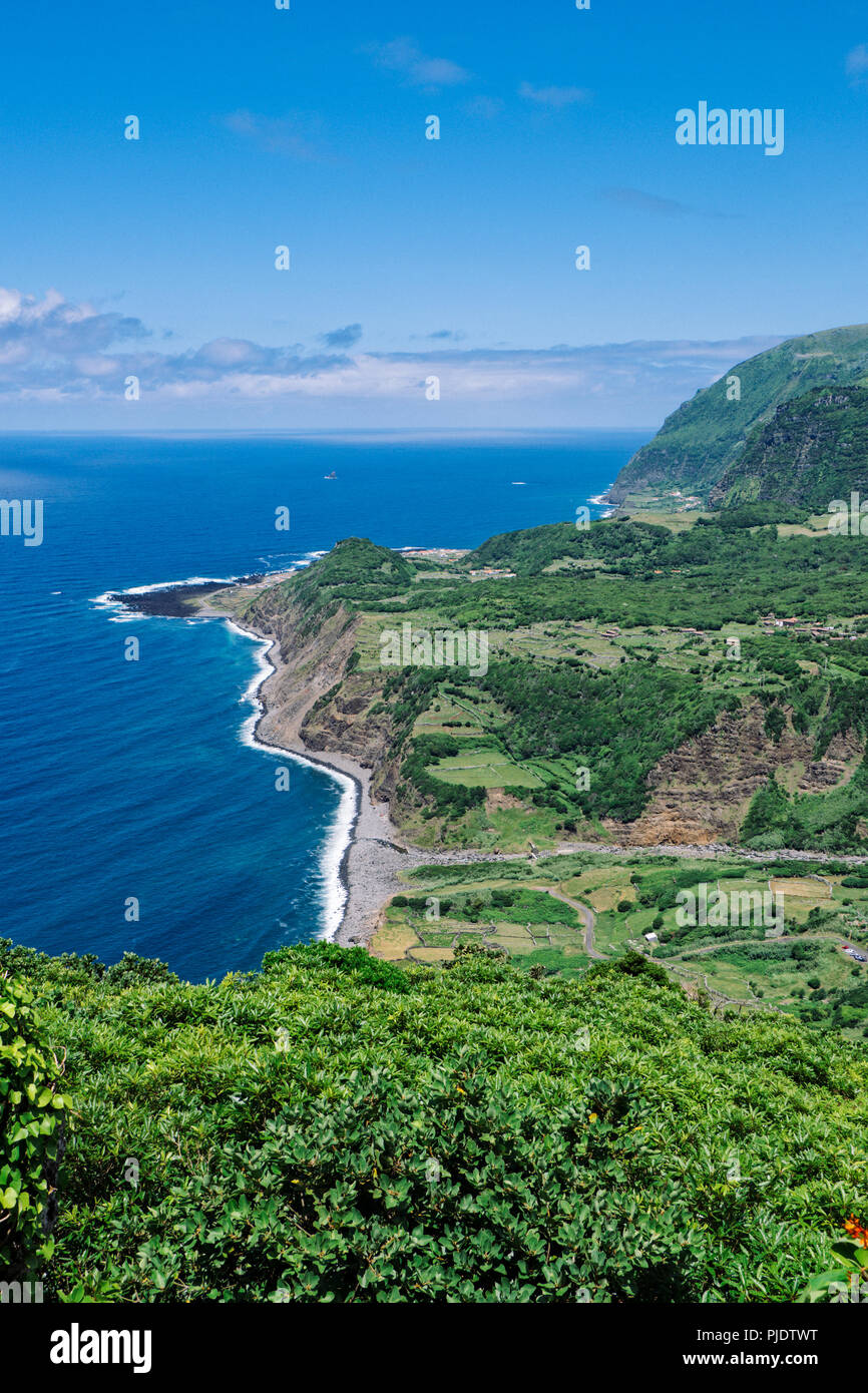Flores Island, Portugal. July 28, 2018. A view of the western coast of Flores Island Stock Photo