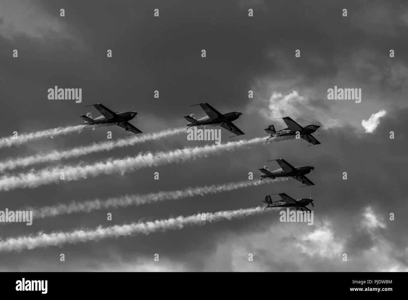 Pilots drawing on the sky... - Stock Image