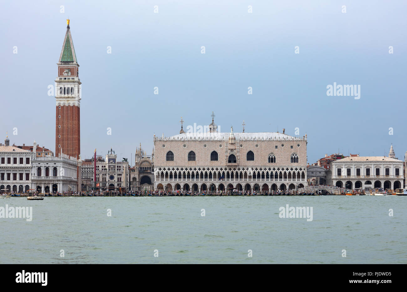 san marcos square in venice seen from the sea with hundreds of tourist walking on the edge of the lagoon stock photo alamy alamy