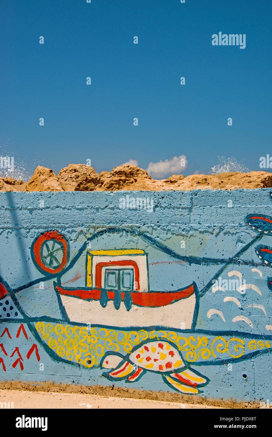 Naive wall painting / Grafitti. - Stock Image