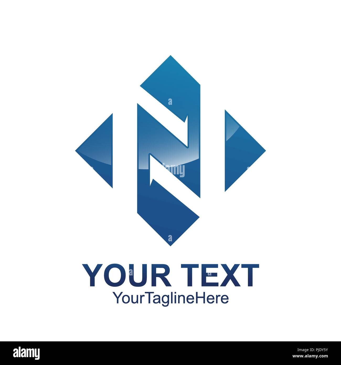 initial letter n logo template colored blue square arrow design for business and company identity