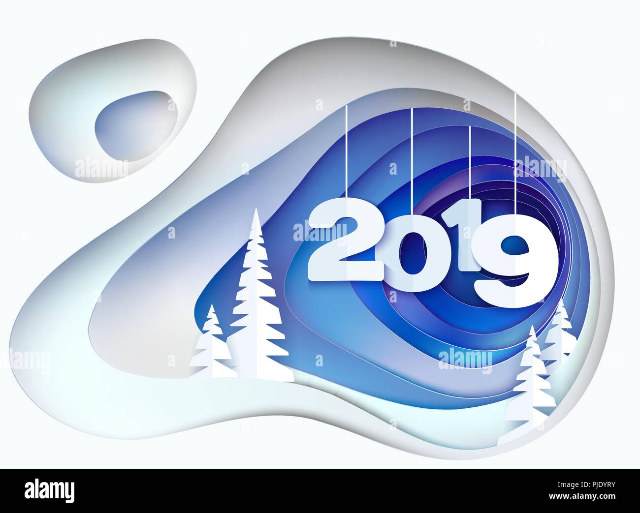 Christmas Card Snowy Hill With Fur Trees And Digits 2019