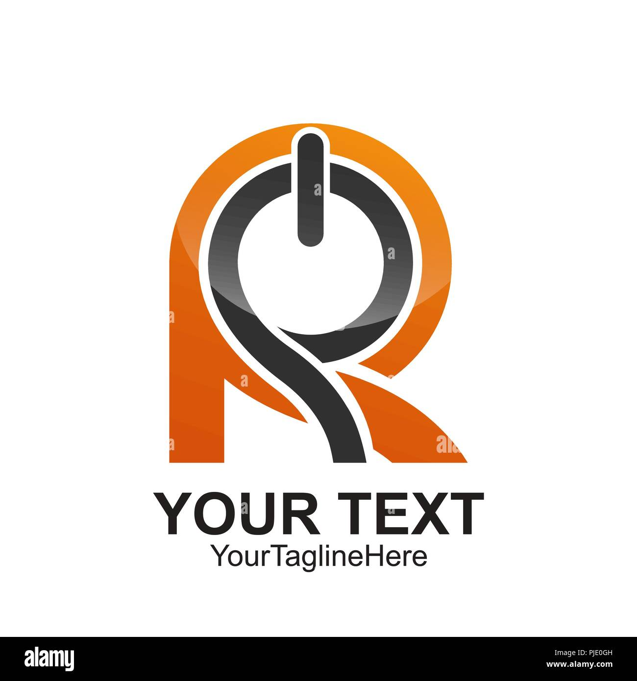 Initial Letter R Logo Template Colored Orange Grey Power Button