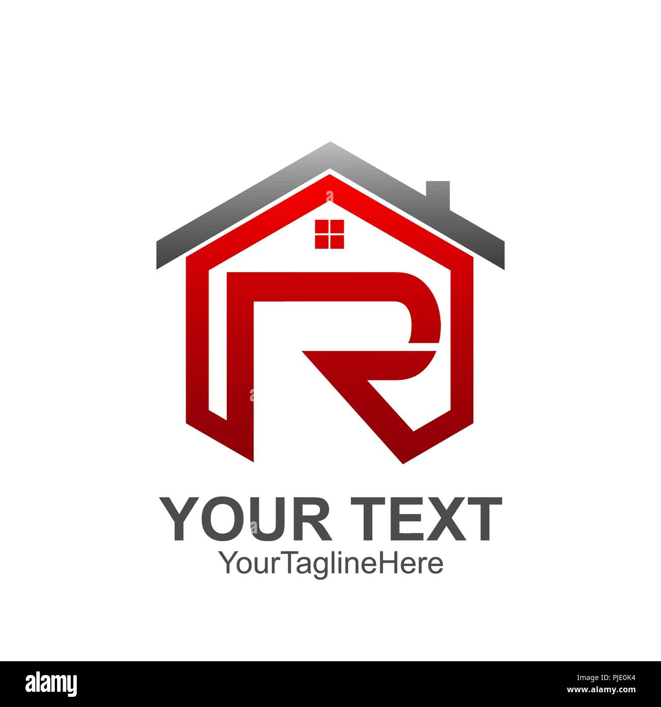 initial letter r logo template colored red grey home design for business and company identity