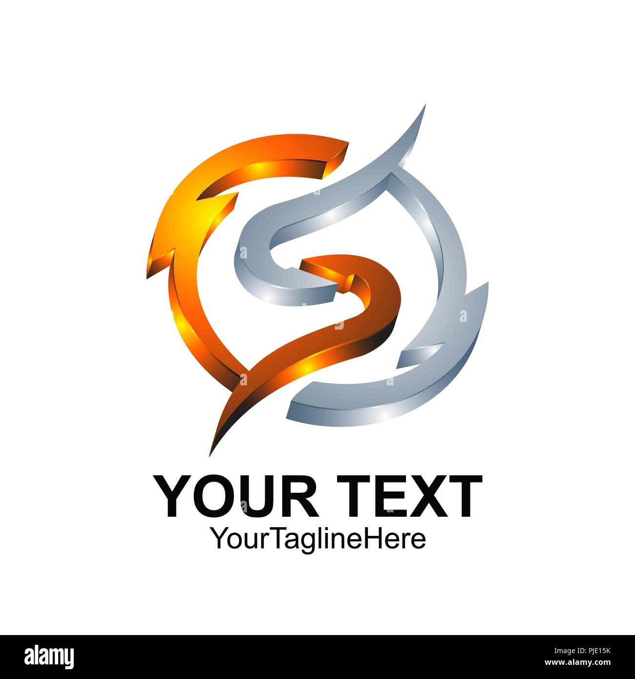 Letter S Logo Design Template Colored Silver Orange Circle