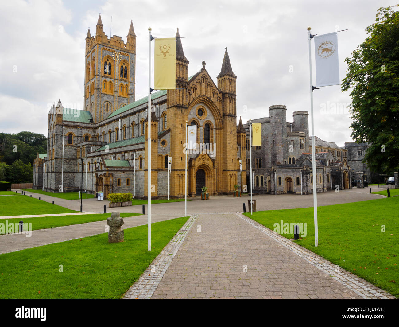 Benedictine Buckfast Abbey Church and monastery buildings frontal view - Stock Image