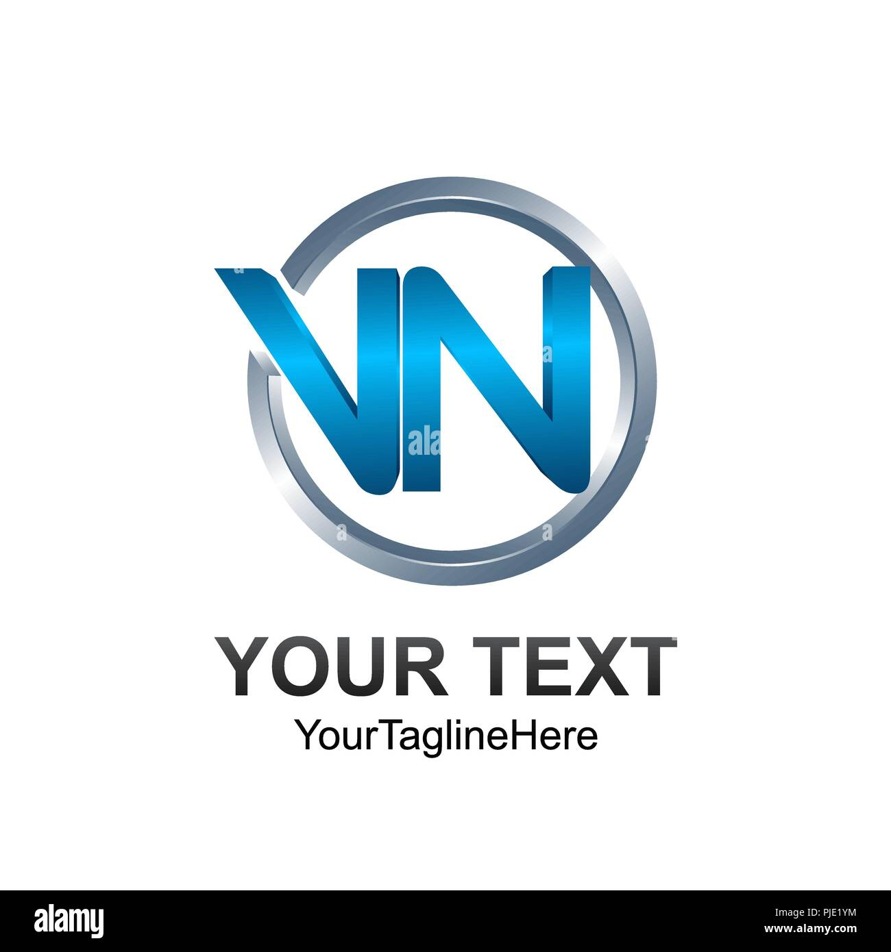 3d circle letter vn initial alphabet logo design template element